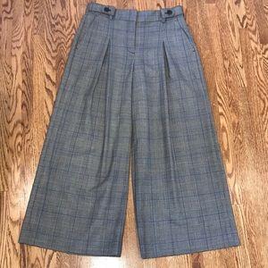 J. Crew Cropped Wide-leg Plaid Pants